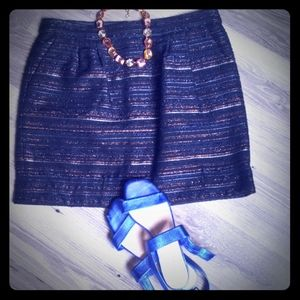 J. Crew black boxy skirt and shimmer lines